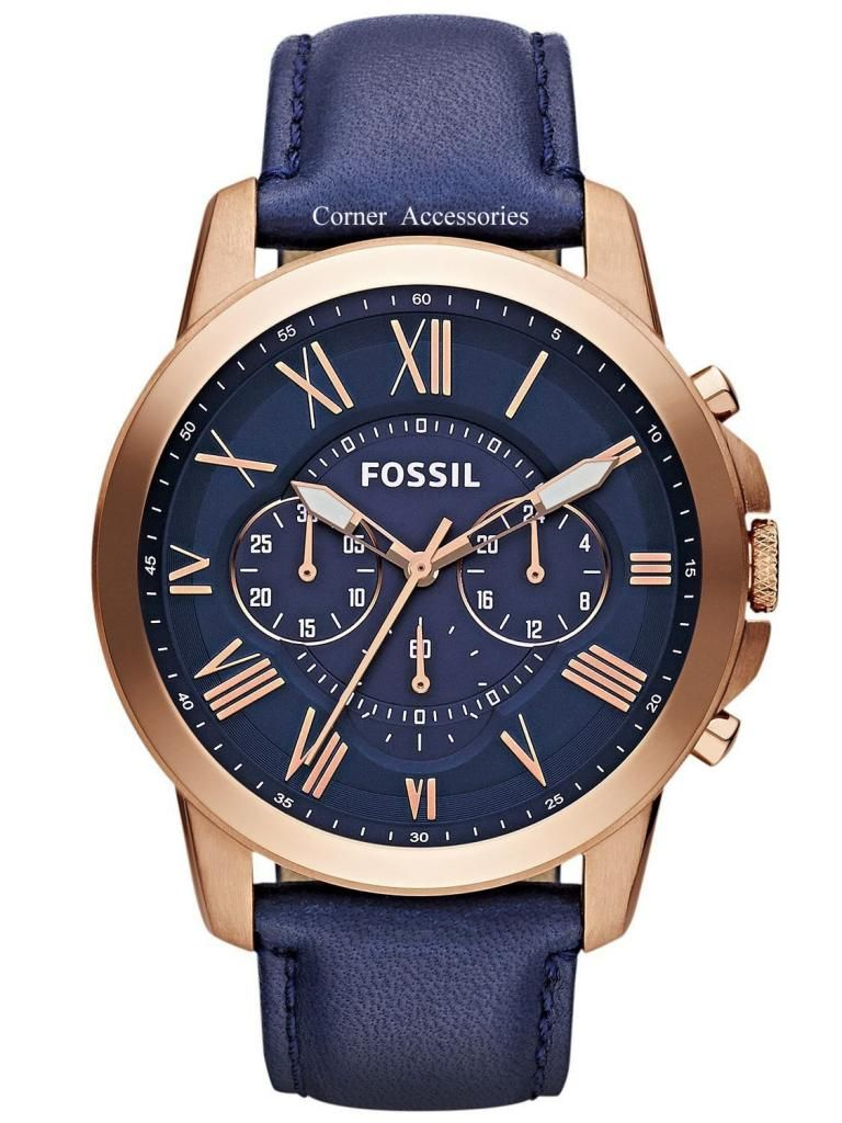 6c5d1151813d FS4835 New Fossil Men Grant Chrono Dial Navy Blue Leather Band Watch  691464571467