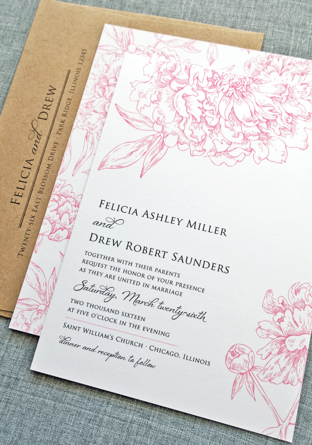 Felicia Pink Peony Flower Wedding Invitation Sample – Recycled Kraft Envelope, Rustic Floral Wedding Invitation