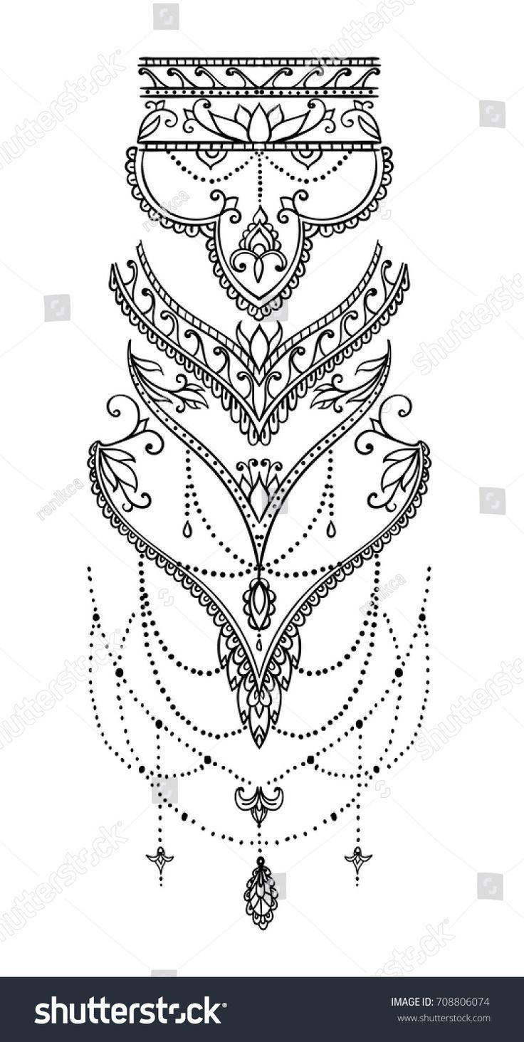 Bellissimo motivo mehndi con riccioli e tipico motivo paisley per tatuaggio …