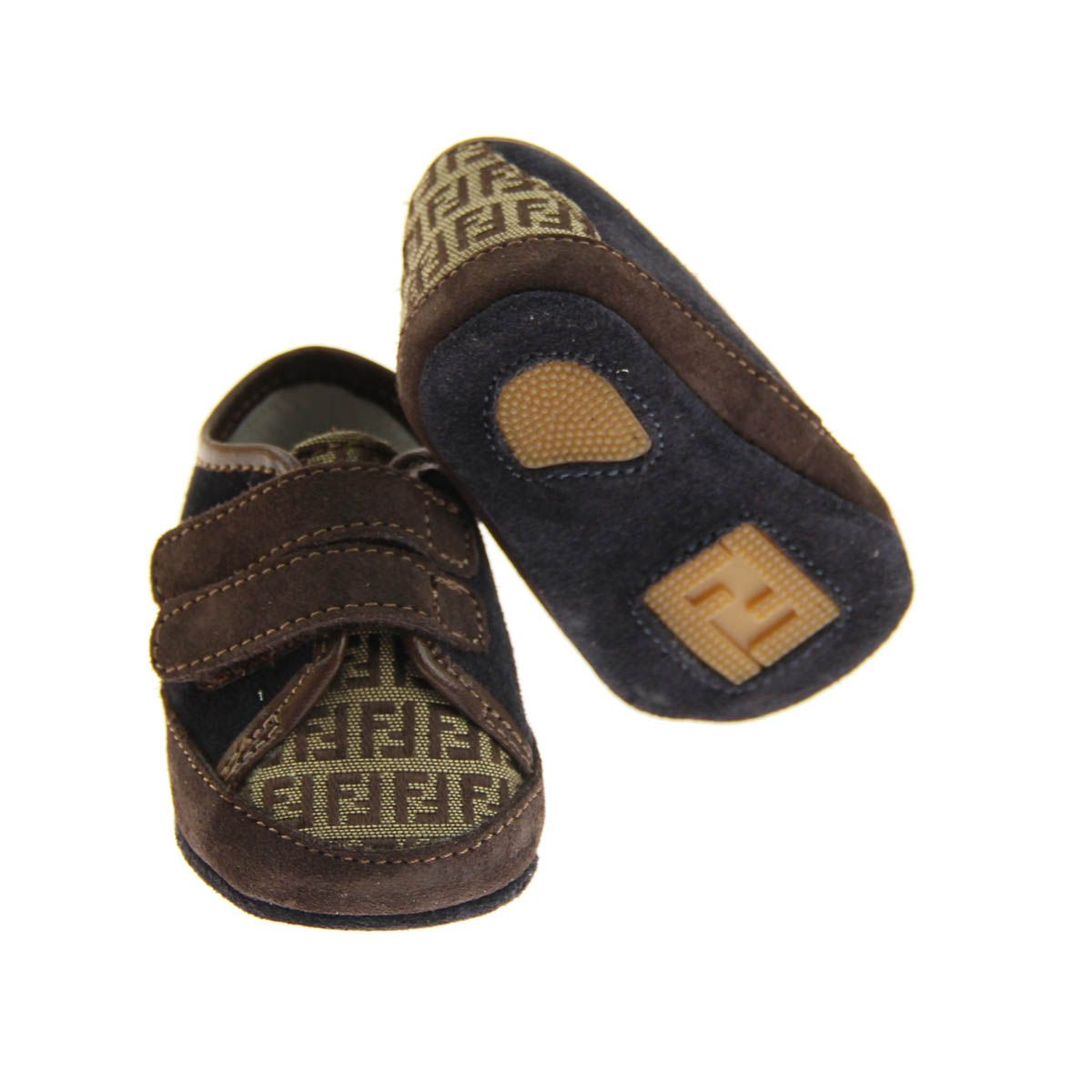 a6f36231f Fendi Baby Boys Navy Suede & Brown Zucca Logo Pre Walkers | Baby ...