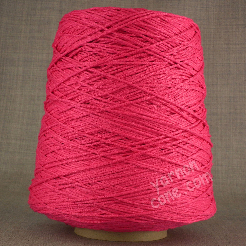 Soft Italian double knitting DK cotton yarn on cone -  fuchsia pink