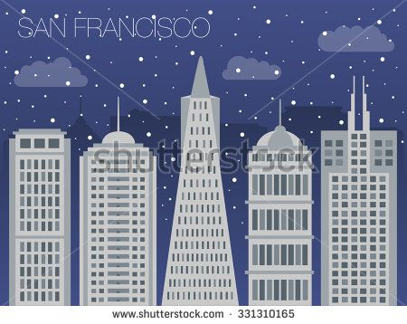 Snow-covered city before holidays in San Francisco city. Colorful flat style panorama buildings of metropolis. Big city for background of games. Vector flat illustration snow falling in street