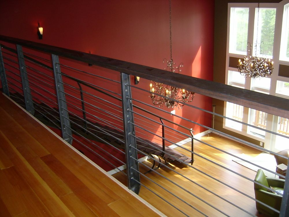 Contemporary Horizontal Iron Railings And Staircase Made
