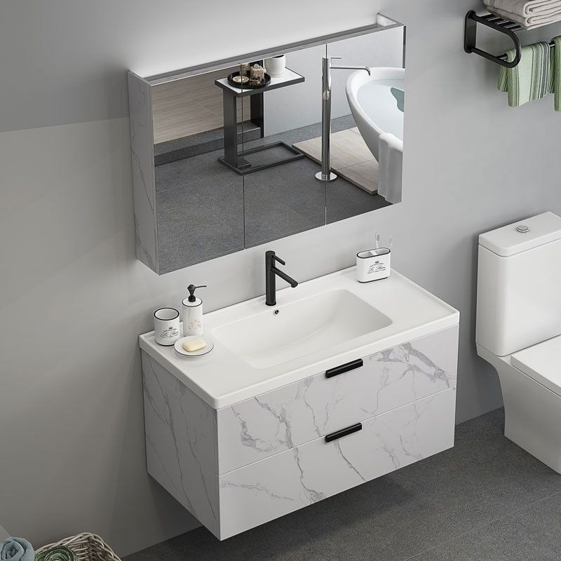 Modern 24 36 Floating Bathroom Vanity Wall Mount Single Sink Vanity With Drawers Marble Pattern In 2020 Floating Bathroom Vanities Single Sink Vanity Modern Bathroom Vanity
