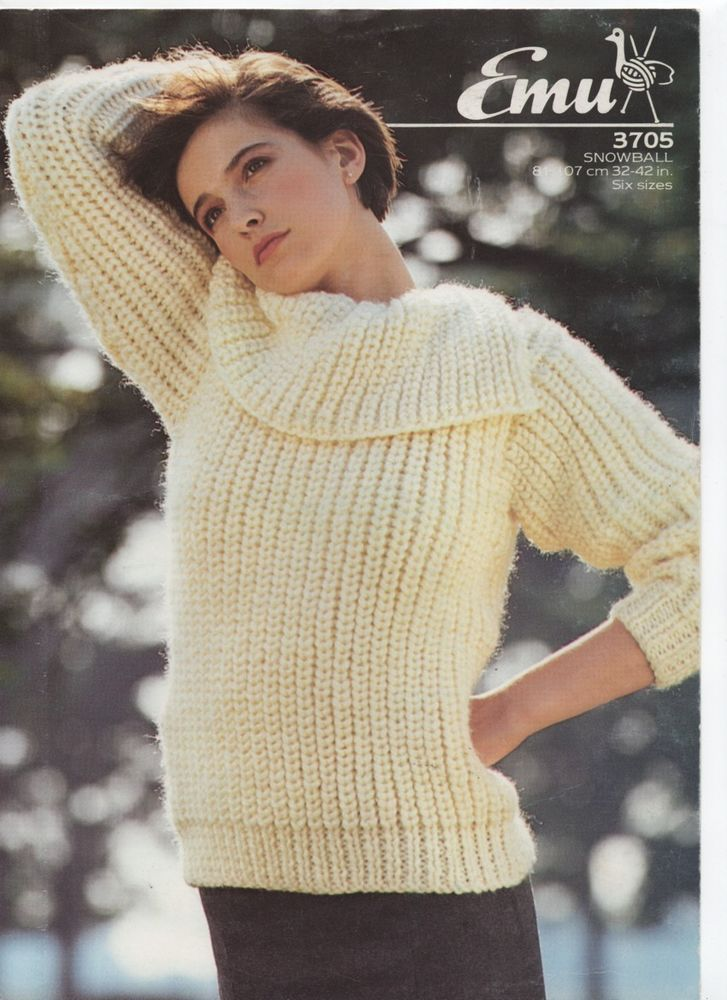EMU megachunky oversized slit collared sweater KNITTING PATTERN