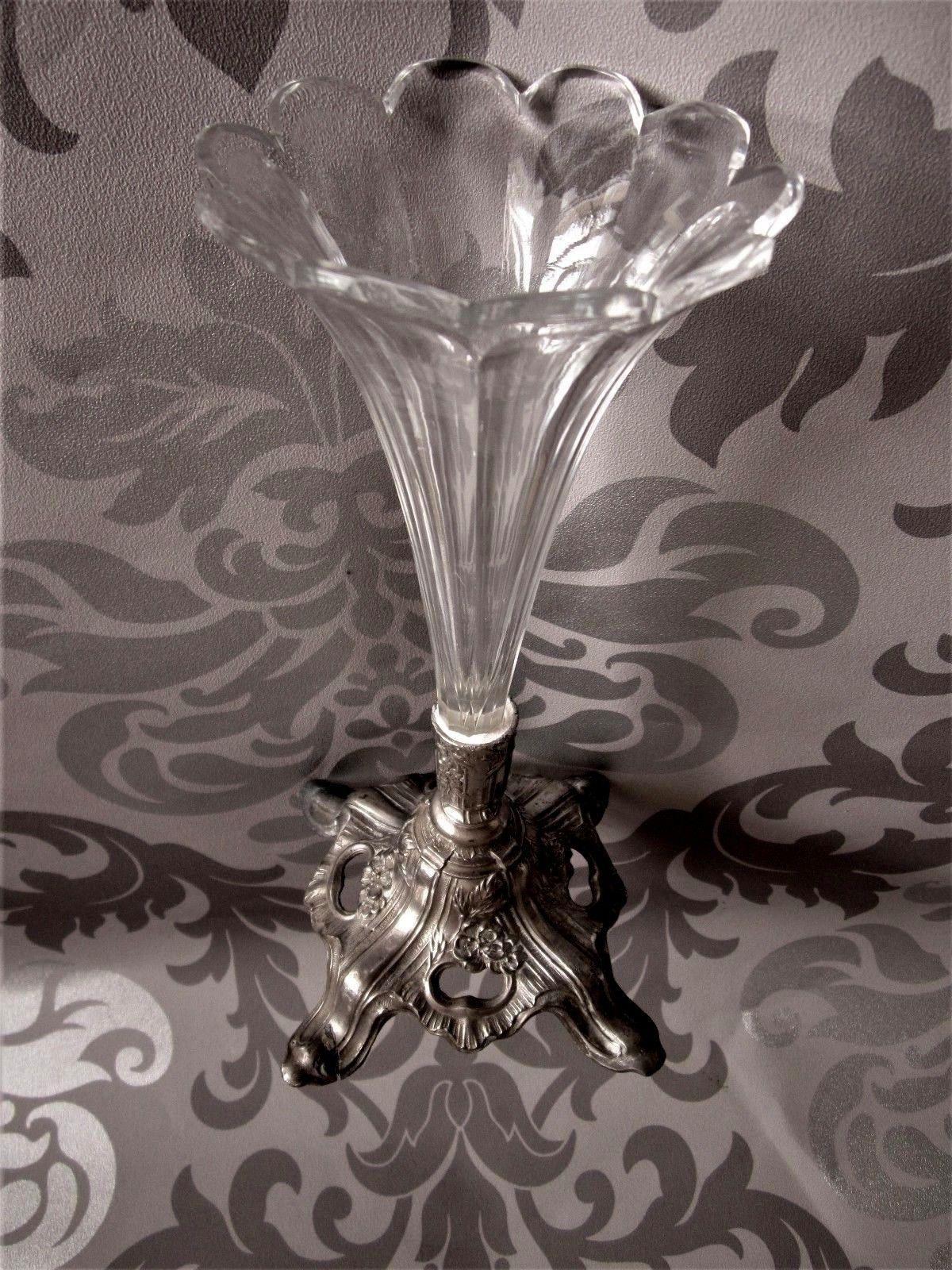 Art Nouveau Ancien Vase Soliflore 25 5cm En Verre Souffle Depoli