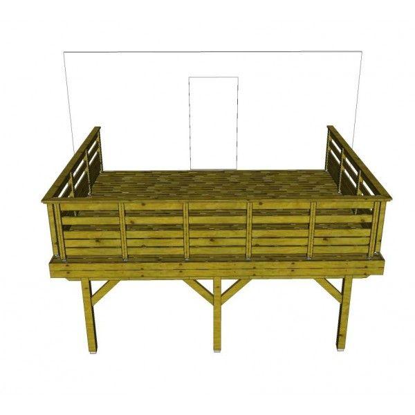 Rampes de patio en bois kit terrasse autoportante 4 x 5 - Garde corps en kit pour terrasse ...