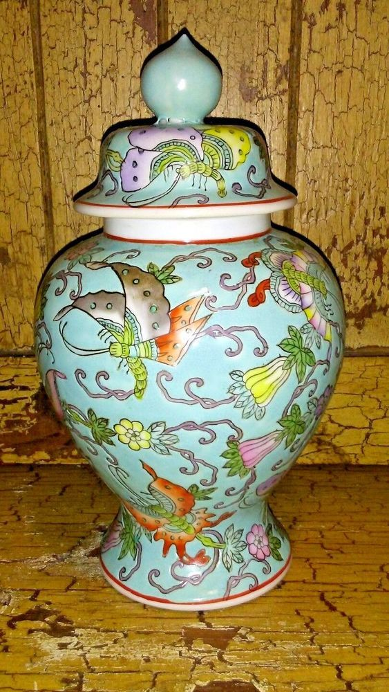 Vintage Porcelain Chinese Flowers Butterflies Lidded Vase 95 Asian