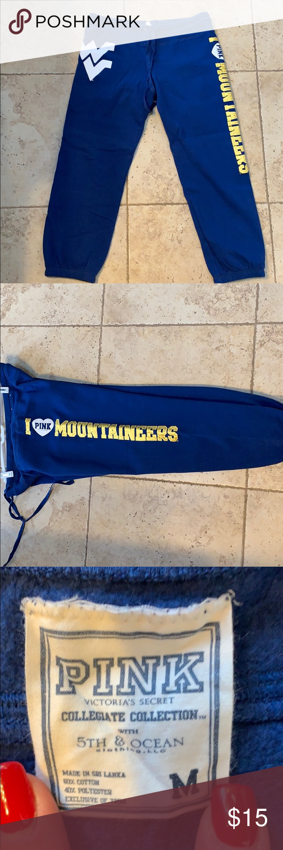 VS Pink WVU Mountaineers sweatpants Size medium navy and gold WVU VS PINK sweatpants. Great condition PINK Victoria's Secret Pants Track Pants & Joggers #wvumountaineers