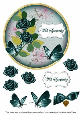 Peacock Rose With Sympathy 7in Circle Decoupage Topper on Craftsuprint - Add To Basket!