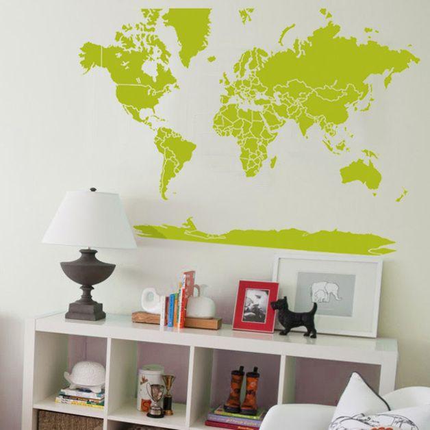Muursticker Wereldkaart Krijt.Muurstickers Wereldkaart Sticker 054b Een Uniek Product Van
