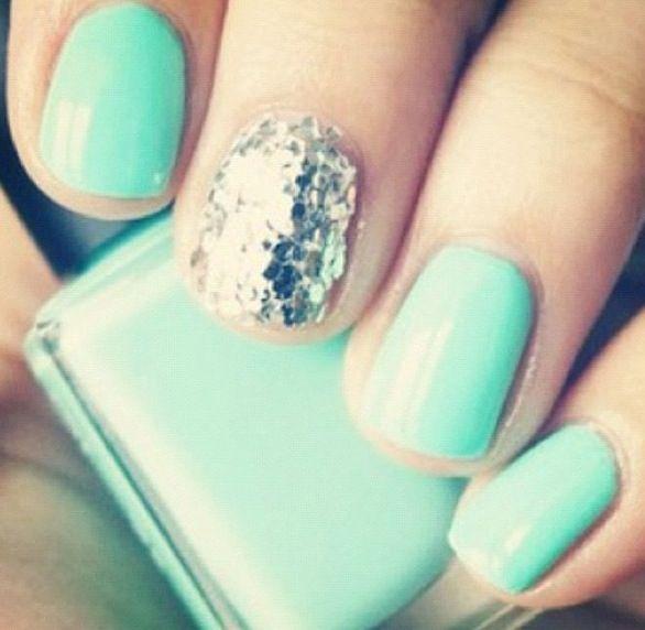Aqua and Glitter   Nails   Pinterest