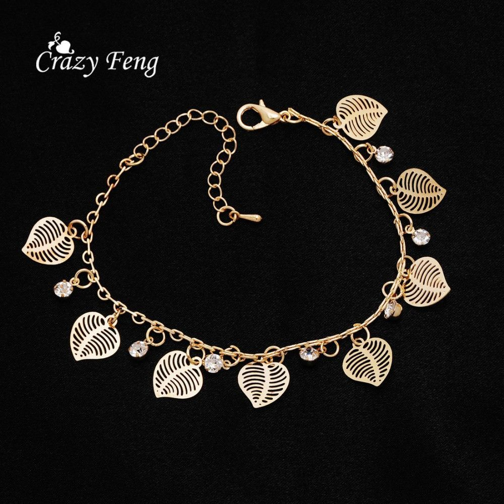 women girl style anklet shipping and gold anklets free new crystal item plated brand bracelets jewelry fashion in from charm key charms austrian dangle