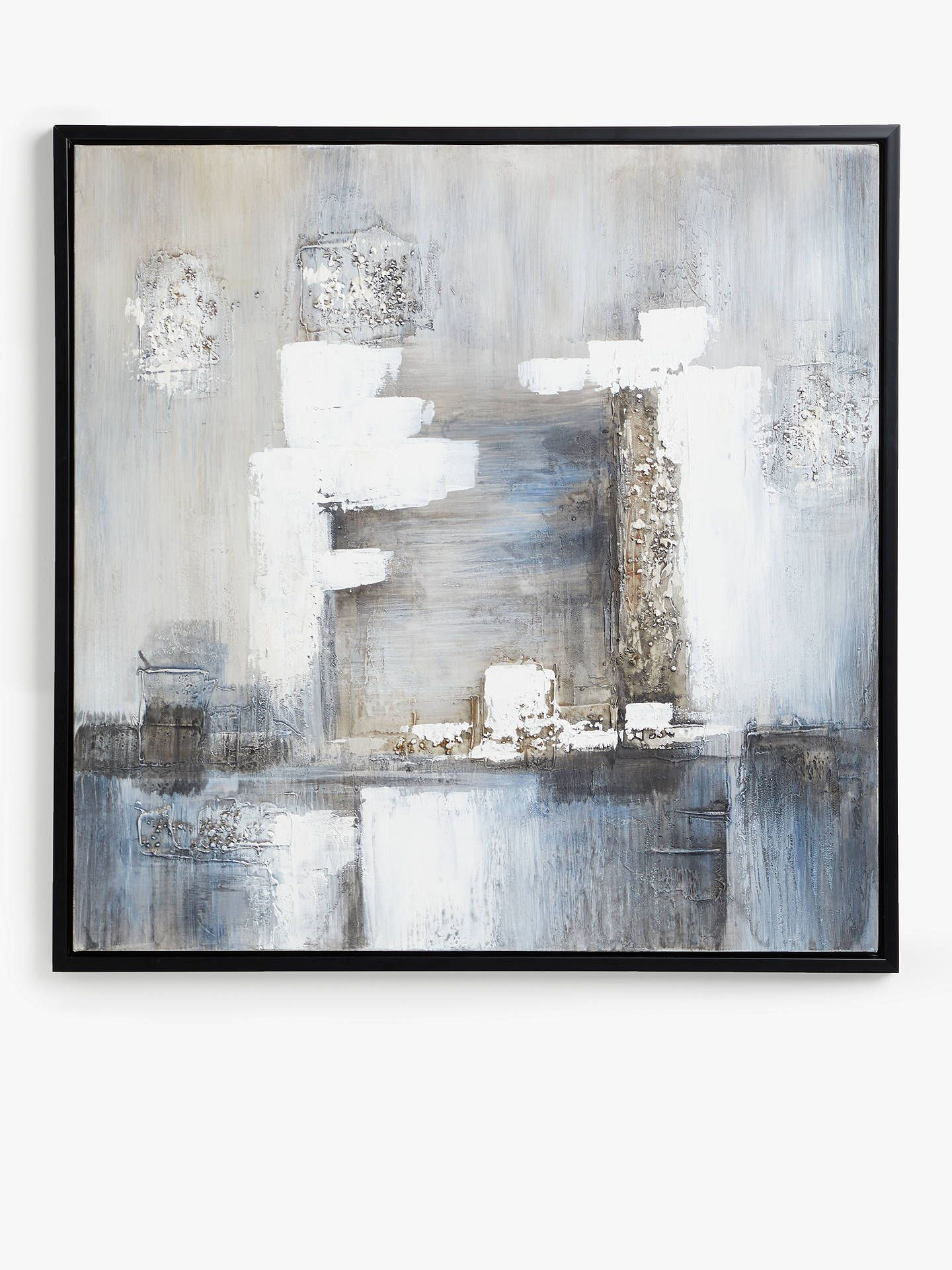 Tempest Hand Painted Monochrome Abstract Framed Canvas 100 X 100cm Black Multi Canvas Frame Hand Painted Abstract