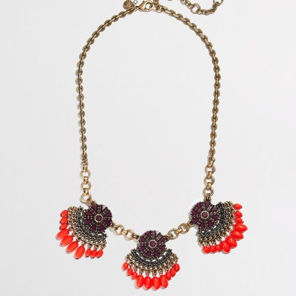 "COMING SOON NWT J. Crew Fan Fringe Necklace! **COMING THIS WEEK, ""like"" and be notified when it's up for sale (I will do a price drop and provide my photos at that time. Price set to retail now but will be lowered when it's in stock. **Get your boho chic on! NWT J. Crew fan fringe necklace in Color: ""Burnished plum."" Comes with J. Crew dust pouch. From J. Crew: ""Zinc casting, steel chain, acrylic bead, epoxy stones, cubic zirconia. Light gold ox plating. Length: 17 1/2"" with a 3"" extender…"