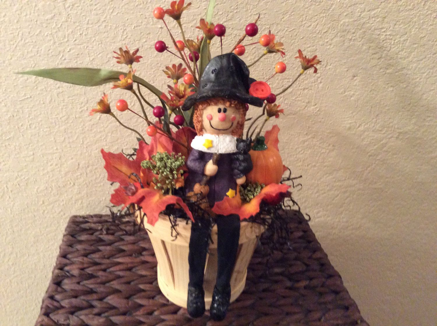 Halloween display in wooden bucket, Small Halloween table sitter with witch and…