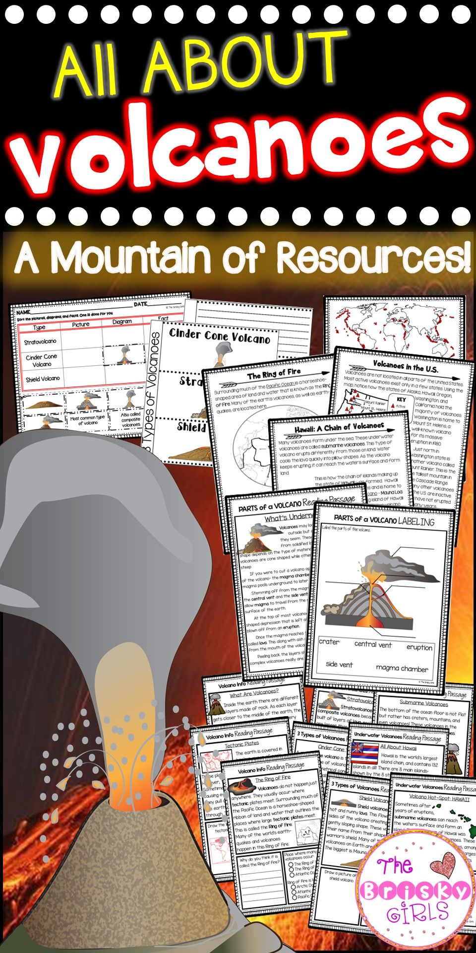 worksheet Volcanoes Reading Comprehension Worksheet volcano mega pack classroom resources and teaching ideas activities labeling reading passages maps more