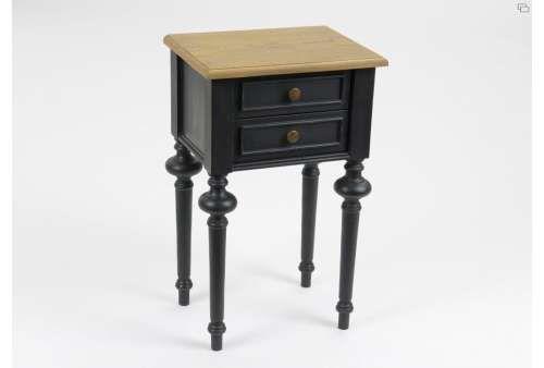 Cette Table De Chevet Noire Cérusée Chêne Clair Sur Le