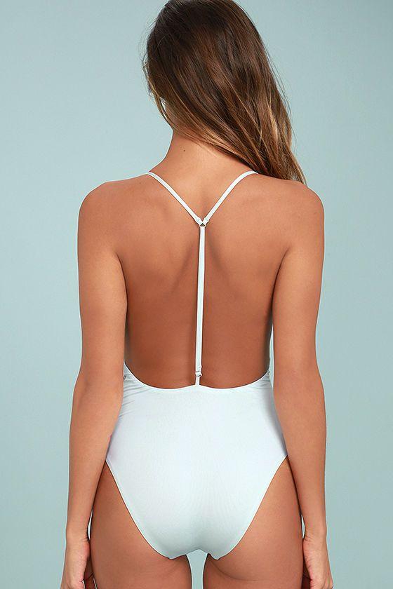 Dolce Vita Solid Light Blue T Strap One Piece Swimsuit Minimal Swimwear Swimsuits Blue One Piece Swimsuit