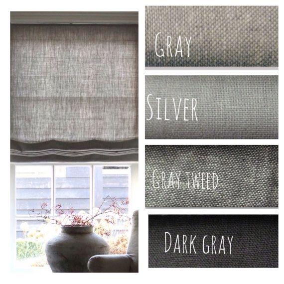 Natural Gray Linen Flat Roman Shades Faux Roman Valances