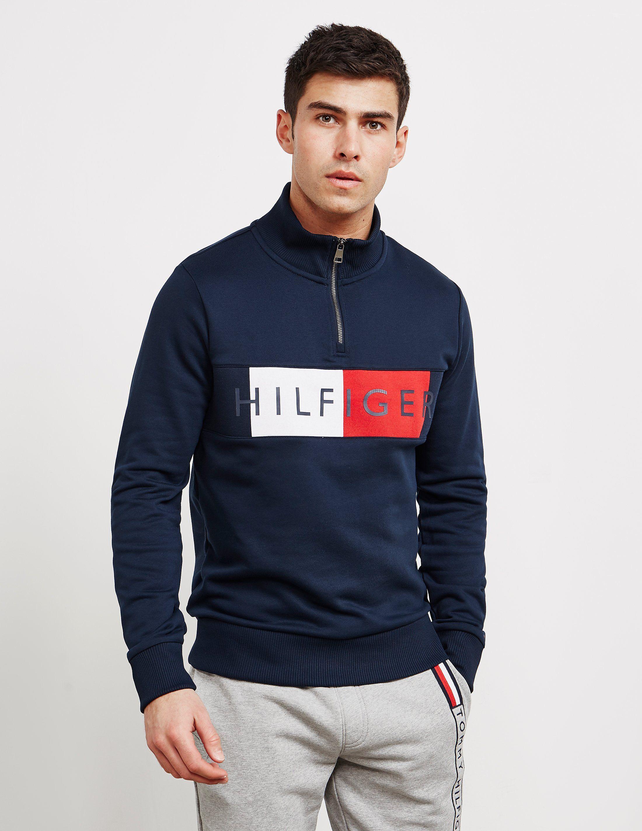 Tommy Hilfiger Half Zip Flag Sweatshirt Available At Tessuti The Luxury Designer Retailer For Men Wome Nike Clothes Mens Long Sleeve Tshirt Men Sweatshirts [ 2850 x 2200 Pixel ]