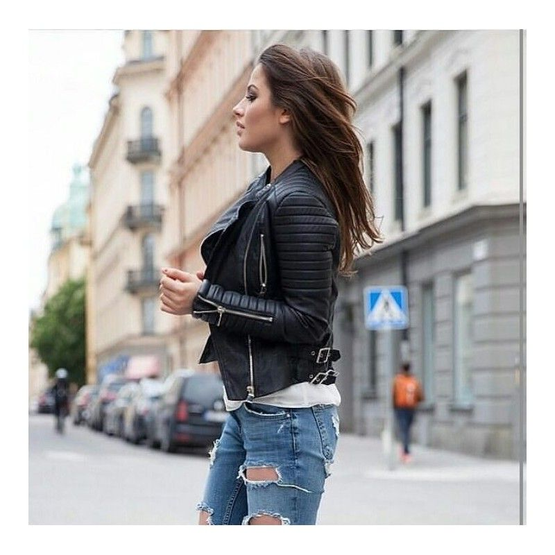 Chloe Schuterman in Chiquelle leather jacket and jeans ... 024824a3c1033