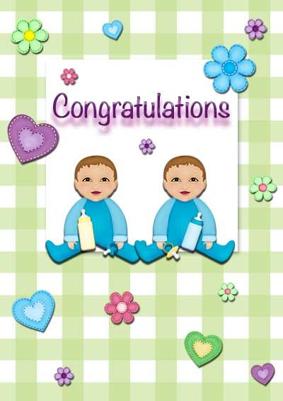 Free printable baby twins cards - my-free-printable-cards Free