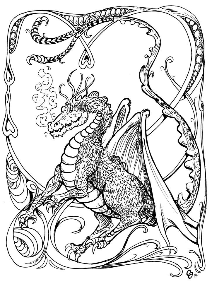 Dragon pen and ink