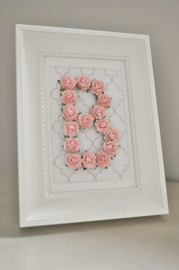 Etsy Initial Wall Decor : Rose personalized initial frame customizable you choose