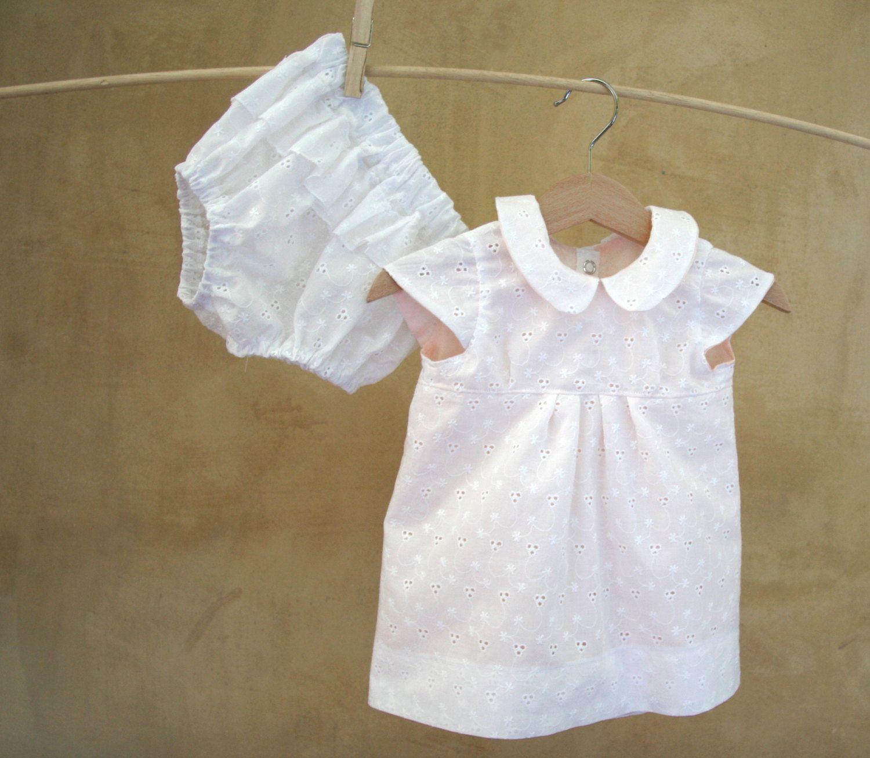 SET-Baby Girl Christmas Clothes-White eyelet lace cotton Dress ...