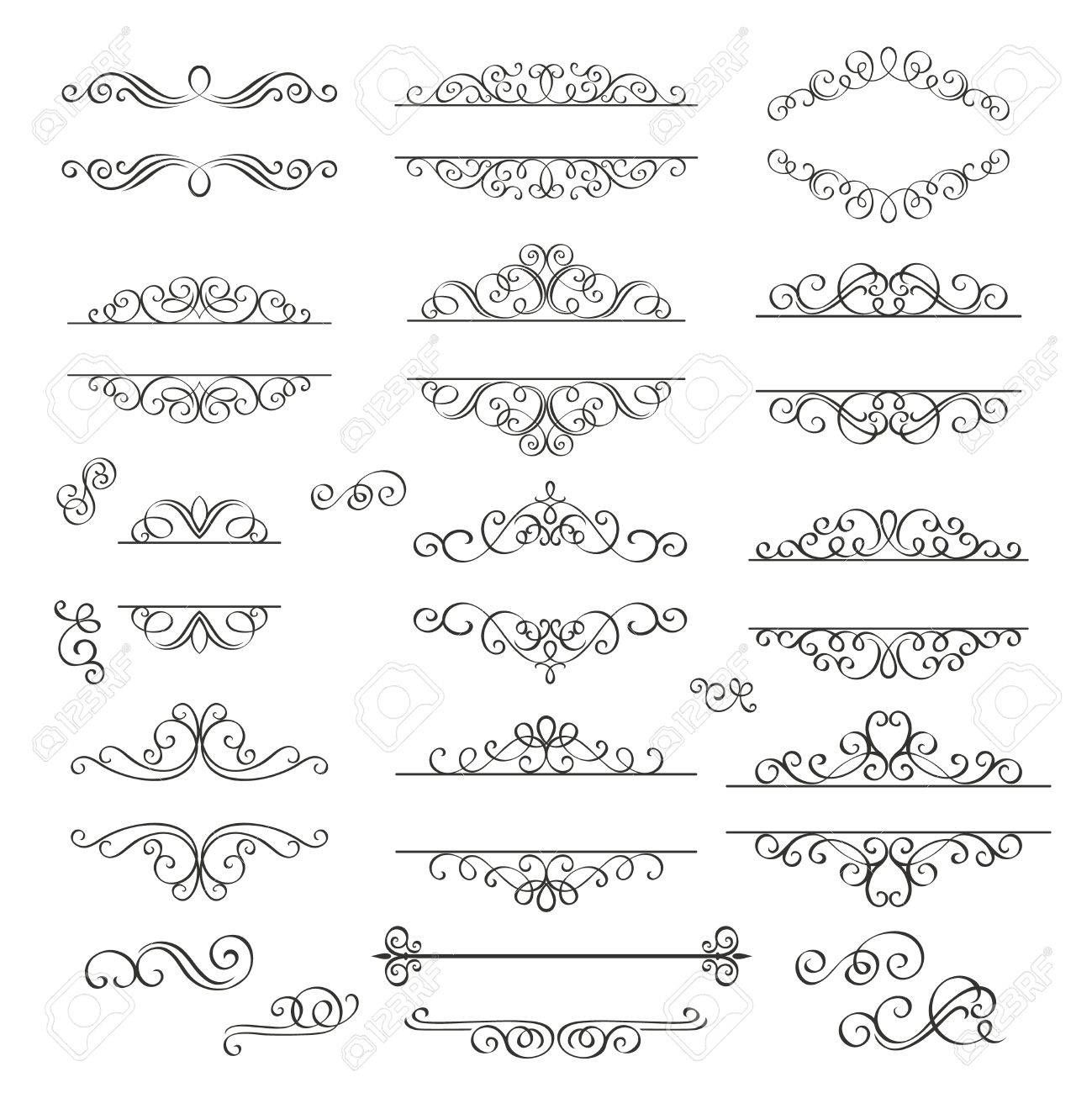 Set Swirls Decorative Design Elements Decorative Victorian Style
