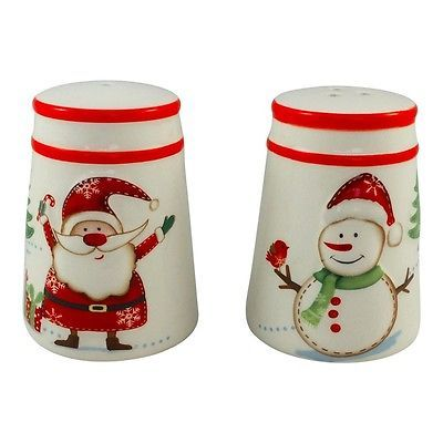 Christmas Santa Salt and Pepper Pots – Shakers – Snowman – Red – Kitchenware