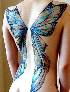 winged blue butterfly on the back things i