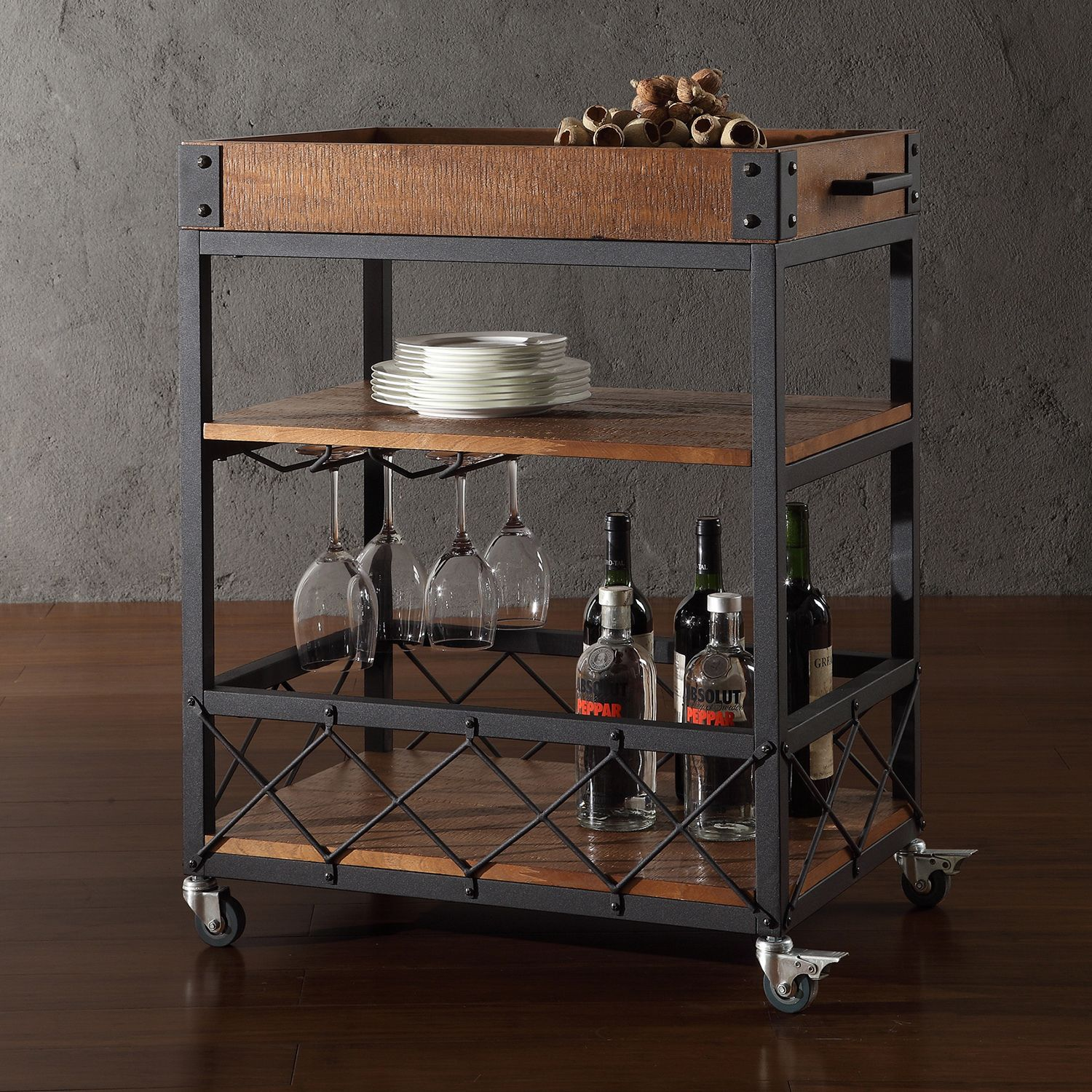 Bentley Industrial Metal And Wood Wheeled Kitchen Serving: Myra II Rustic Mobile Serving Cart With Wine Inserts And