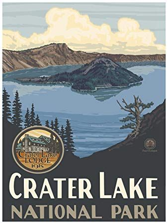 Crater Lake National Park Travel Art Print Poster by Paul A. Lanquist 18 x 24 #craterlakenationalpark