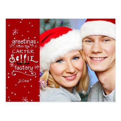 Selfie Greetings Changeable Red Background Holiday Postcard Zazzle Com Postcard Christmas Cards Holiday Card Diy Holiday Design Card