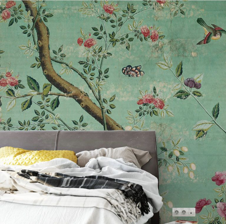 Emerald Green Chinoiserie Wallpaper SelfAdhesive Vintage