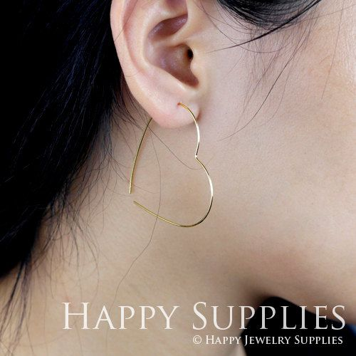 20pcs 43mm Heart Rose Gold Silver Golden Plated Brass Hoop Earrings