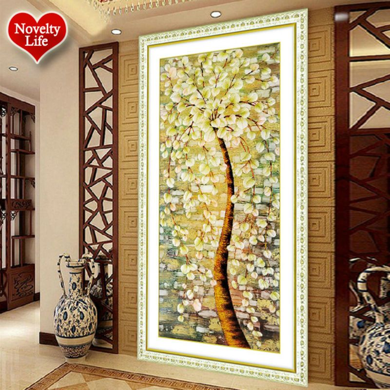 Diamond Piainting Cross Stitch 5D DIY Diamond Embroidery Tree Round ...