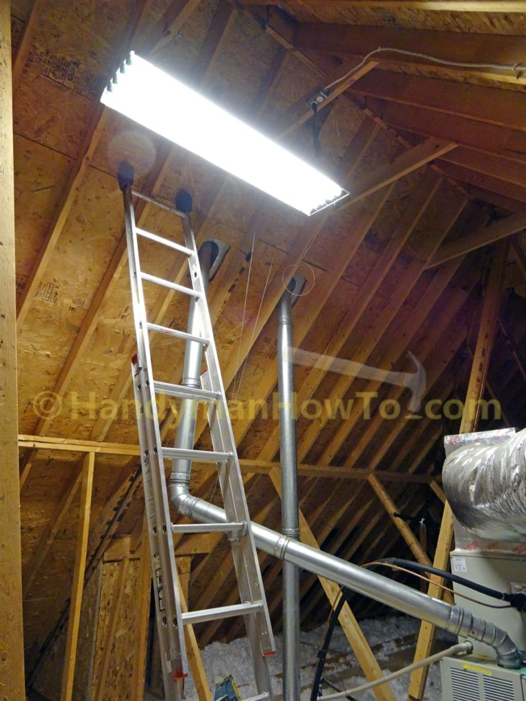 Attic Light And Electrical Outlet Installation Electrical Installation Shop Lighting Attic Lighting