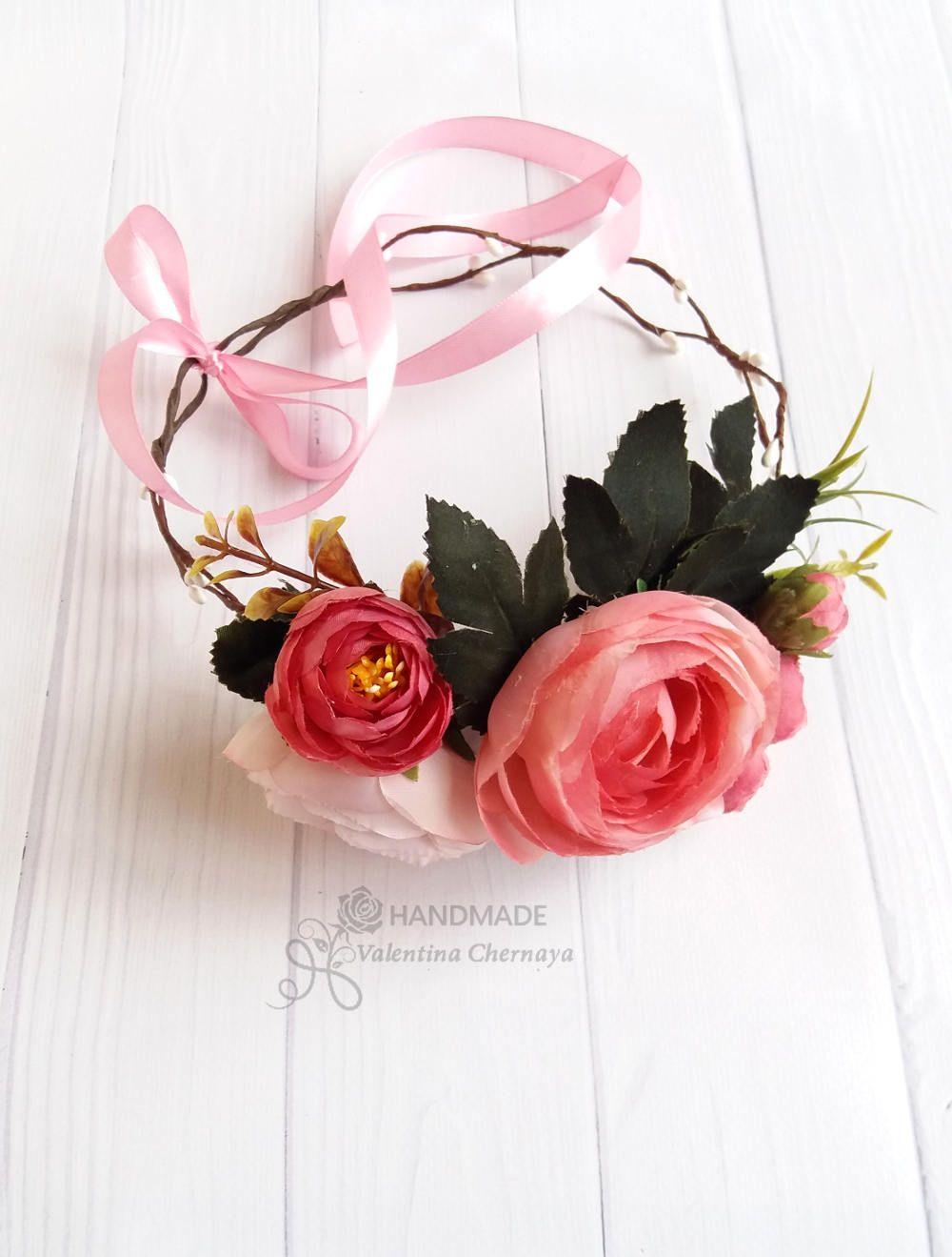Peach flower crown bridal wreath hair boho silk flowers crown 1 my peach flower crown bridal wreath hair boho silk flowers crown izmirmasajfo