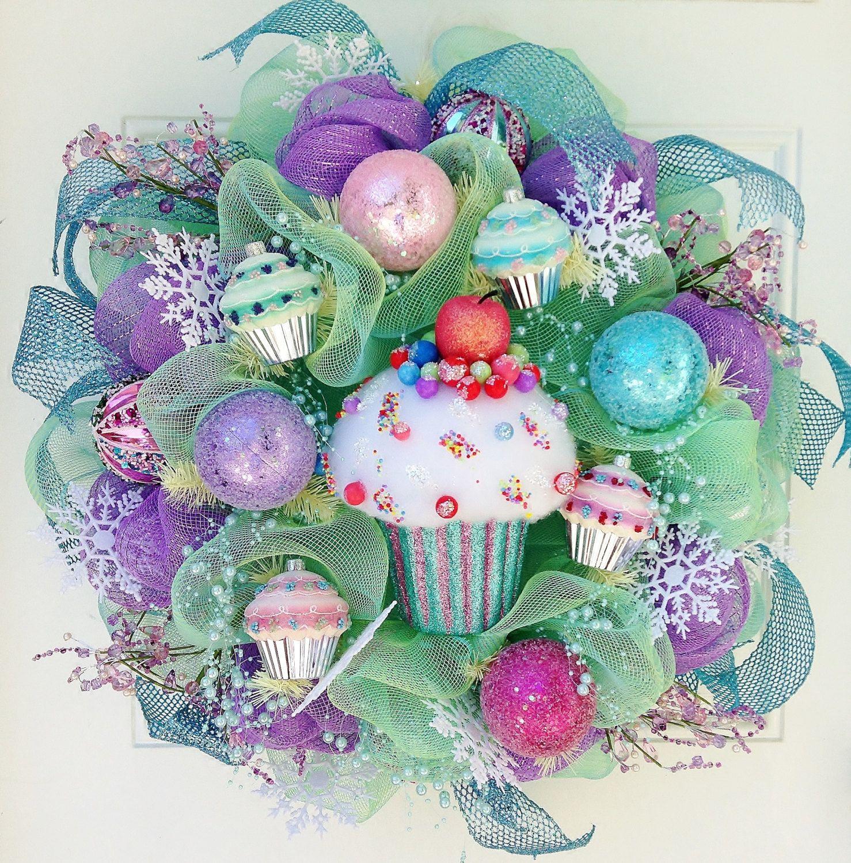 Cupcake Deco Mesh Christmas Wreath by ViennaSparkleWreaths on Etsy, $145.00