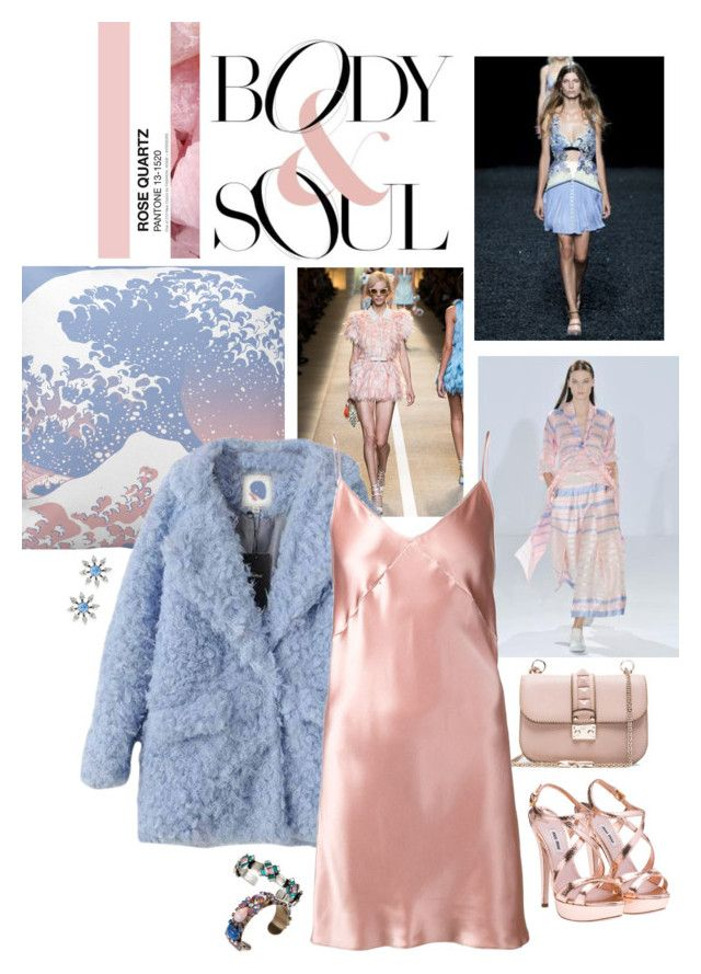 """Silky - Powder Pink and Blue"" by loveraige ❤ liked on Polyvore featuring mode, DANNIJO, Valentino, Temperley London, Fleur du Mal, Mary Katrantzou, Miu Miu, women's clothing, women en female"