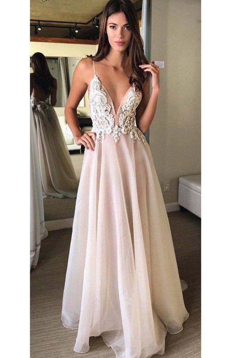 A line Spaghetti Straps V Neck Prom Dresses Sparkly Navy