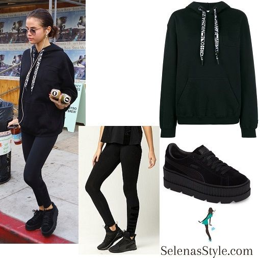 08511af17426 Selena Gomez black hoodie with logo drawstring black Puma leggings and  sneakers November 2017