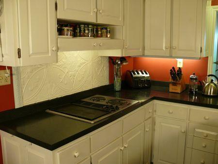 Using Tin Ceiling Tile As A Backsplash Ixnay On The Orange Walls
