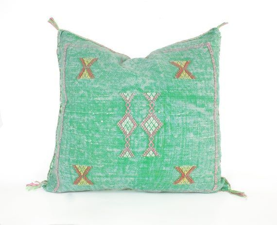 Moroccan pillow decorative pillow faded green cactus silk pillow bohemian Pillow moroccan cushion throw pillow boho decor  Moroccan pillow decorative pillow faded green c...