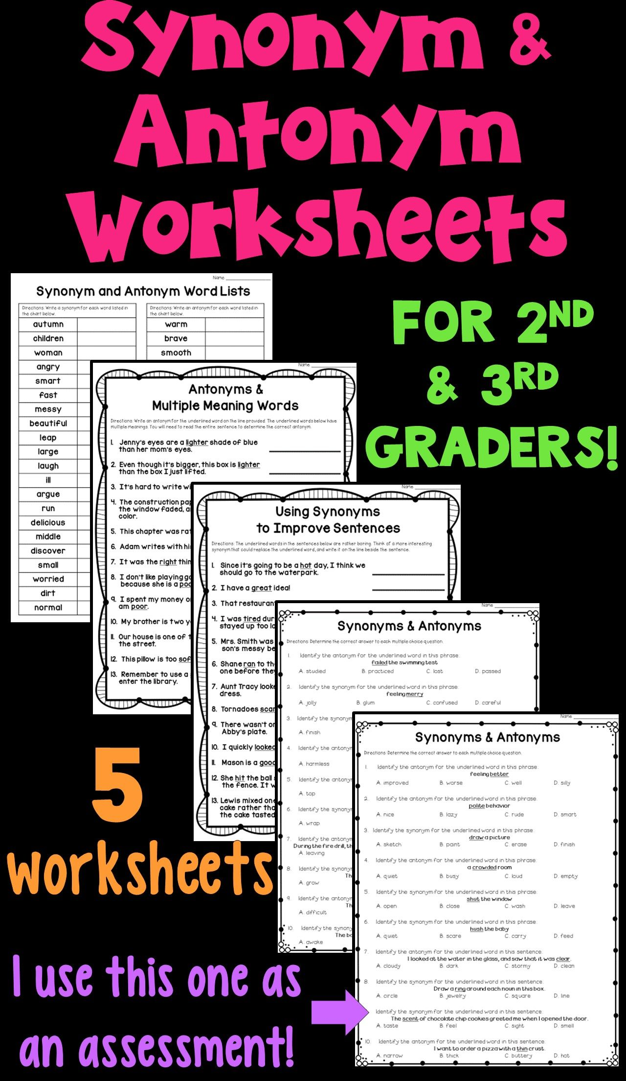 Synonyms and Antonyms Worksheet Packet! These 5 worksheets focus on  generating synonyms and antonyms [ 2208 x 1280 Pixel ]
