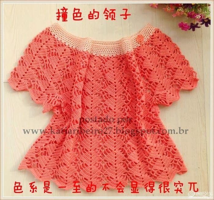 f99d5c551 Blusa em crochê com gráfico e passo a passo | Xales e moda em croche ...