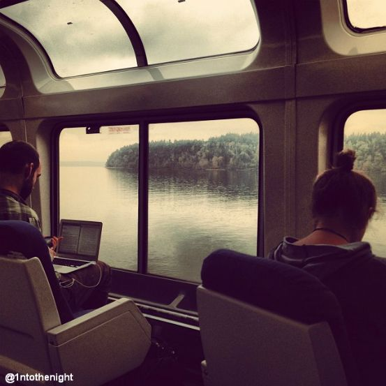 Amtrak Coast Starlight Offers Stunning Views Of The: Beautiful View From Amtrak Train.
